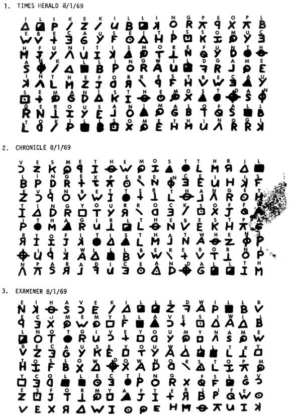 Zodiacs tre första chiffer